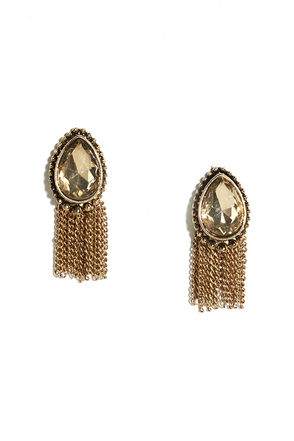 For an Instant Gold and Peach Rhinestone Earrings at Lulus.com!