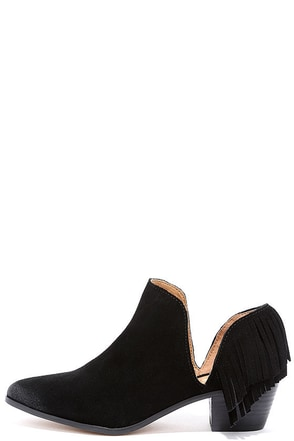 Report Ignatious Black Suede Leather Fringe Booties at Lulus.com!