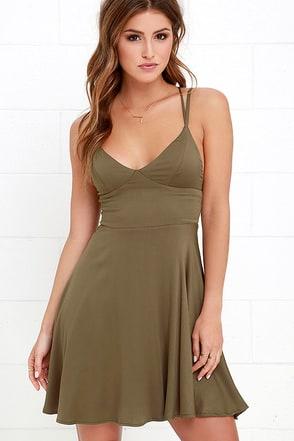 Chorus and Verse Olive Green Dress at Lulus.com!