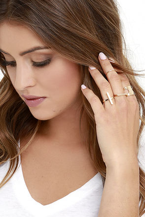 Strong-Willed Gold Ring Set at Lulus.com!