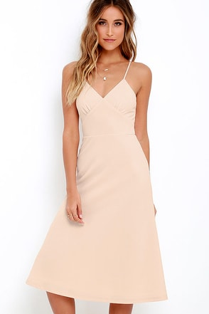 On Broadway Ivory Midi Dress at Lulus.com!