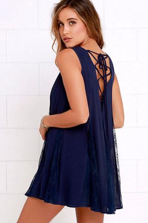 Swing Fling Navy Blue Lace-Up Swing Dress at Lulus.com!