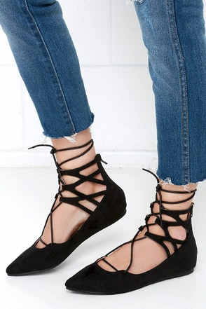 LULUS Giselle Black Suede Lace-Up Flats at Lulus.com!