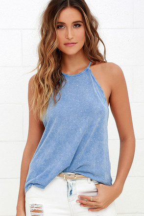 Billabong To the Point Washed Blue Tank Top at Lulus.com!