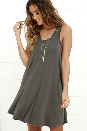 The Breezy Charcoal Grey Swing Dress at Lulus.com!