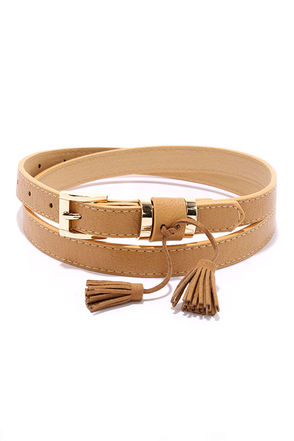 Believe You Me Tan Tassel Belt at Lulus.com!