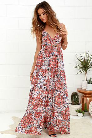 Raga Atacama Desert Coral Red Print Maxi Dress at Lulus.com!