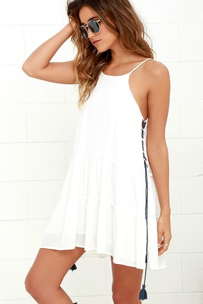 Fun Fact Ivory Lace-Up Dress at Lulus.com!