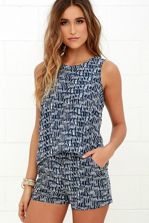 Olive & Oak Chances of Rain Navy Blue Print Romper at Lulus.com!