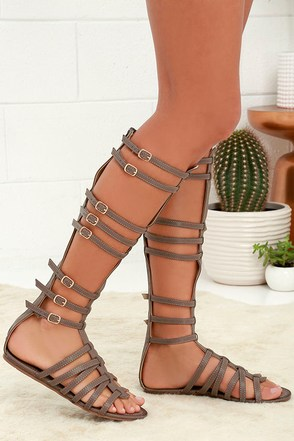 Journey to Atlantis Camel Tall Gladiator Sandals at Lulus.com!