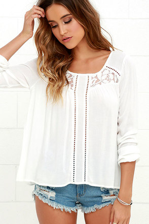 Others Follow Dream On Ivory Long Sleeve Lace Top at Lulus.com!