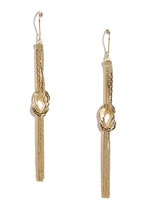 Whether or Knot Gold Fringe Earrings at Lulus.com!