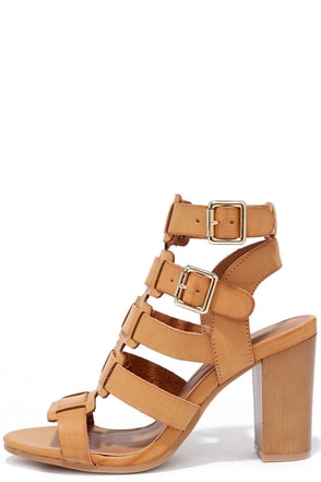 Miss Mischievous Camel Caged Heels at Lulus.com!