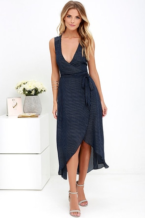 Fine Lines Navy Blue Striped High-Low Wrap Dress at Lulus.com!