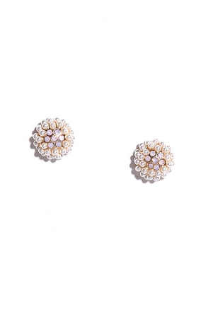 Kiss the Pearl Gold and Pink Rhinestone Earrings at Lulus.com!