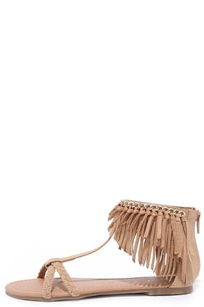 Good Vibes Toffee Brown Suede Flat Fringe Sandals at Lulus.com!