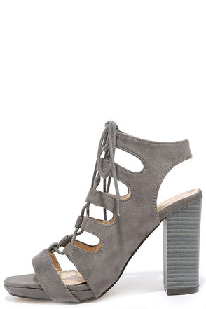 Obsessed Taupe Suede Lace-Up Heels at Lulus.com!