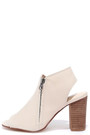 Sbicca Sancia Taupe Leather Peep-Toe Booties at Lulus.com!