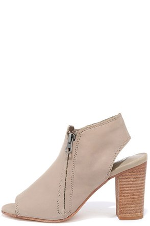Sbicca Sancia Beige Leather Peep-Toe Booties at Lulus.com!
