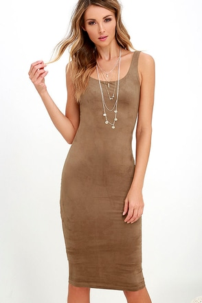 Have it Suede Tan Midi Dress at Lulus.com!