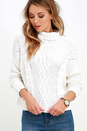 Rhythm Yacht Ivory Cable Knit Sweater at Lulus.com!