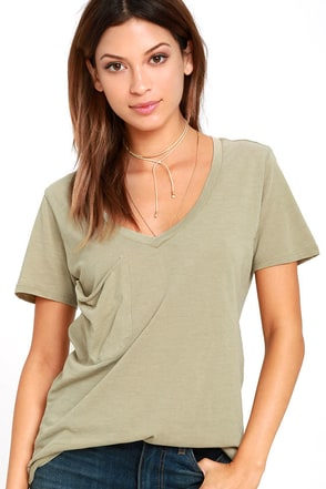Z Supply Pleasant Surprise Khaki Tee at Lulus.com!