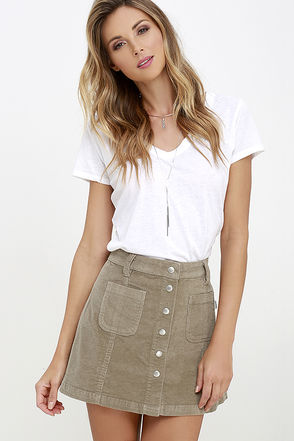 Rhythm Mauritius Taupe Corduroy Mini Skirt at Lulus.com!