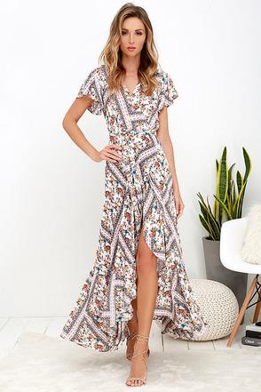 Playing Fleur Keeps Ivory Floral Print Maxi Dress at Lulus.com!