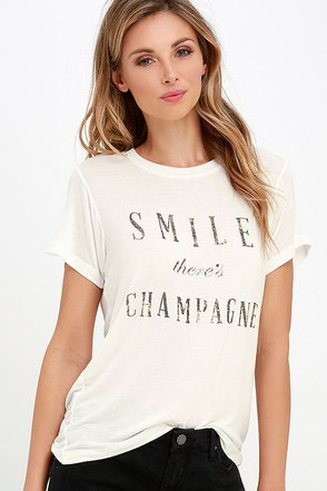 Daydreamer Smile There's Champagne Cream Tee at Lulus.com!