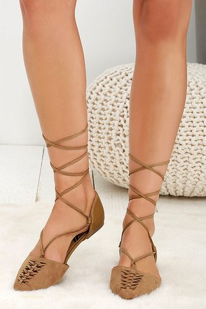 Trinity Camel Suede Lace-Up Flats at Lulus.com!