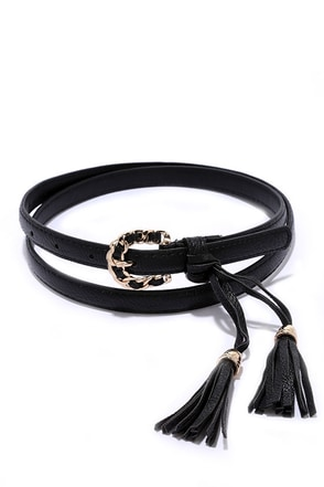 Southern Drawl Black Tassel Belt at Lulus.com!