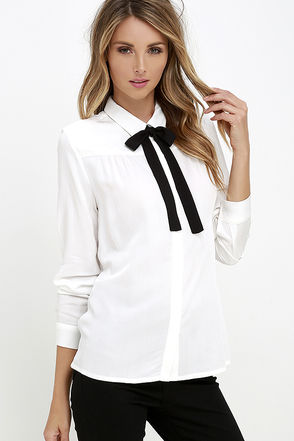 High Society Ivory Long Sleeve Button-Up Top at Lulus.com!
