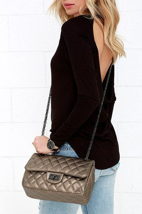 Plead Quilt-y Bronze Quilted Purse at Lulus.com!