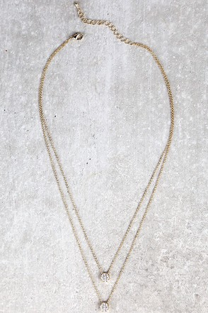 Incantation Gold Rhinestone Layered Necklace