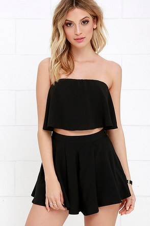 Squad Goals Black Strapless Two-Piece Set at Lulus.com!