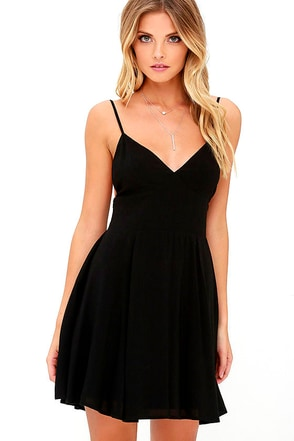 From the Heart Black Skater Dress at Lulus.com!