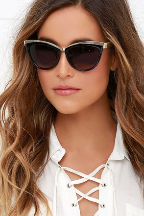 Feline Fine Black Cat Eye Sunglasses at Lulus.com!