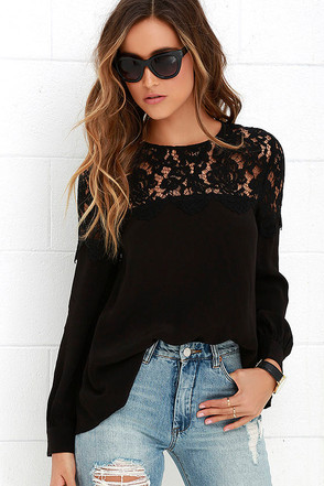 Picture This Navy Blue Long Sleeve Lace Top at Lulus.com!