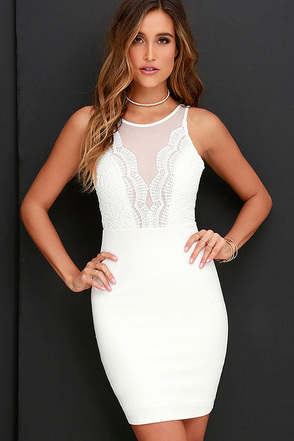 Coquina White Lace Bodycon Dress at Lulus.com!