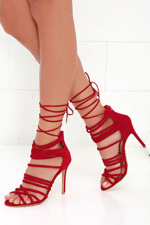 Steps to Success Camel Suede Lace-Up Heels at Lulus.com!