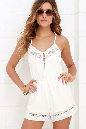American Honey Ivory Lace Romper at Lulus.com!