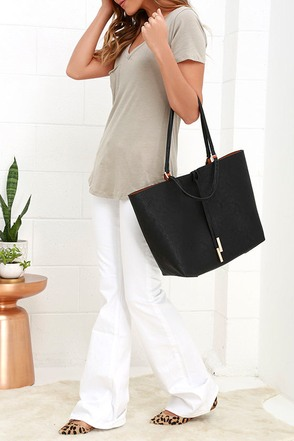 To and Fro Black and Tan Reversible Tote at Lulus.com!