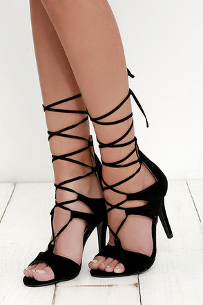 Tip-Topper Nude Suede Lace-Up Heels at Lulus.com!