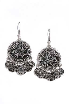 Coin Toss Silver Earrings at Lulus.com!
