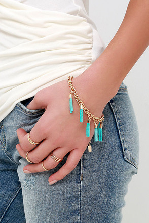 Pretty Tease Gold and Turquoise Bracelet at Lulus.com!