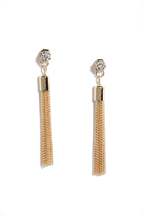 Party Planner Gold Rhinestone Peekaboo Earrings at Lulus.com!