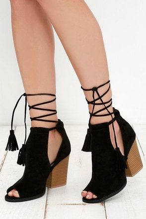 Cut and Fly Black Suede Lace-Up Ankle Booties 1