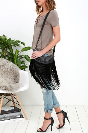 Texas Time Zone Black Suede Fringe Purse at Lulus.com!