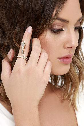 Hiss and Hers Gold Rhinestone Snake Ring at Lulus.com!