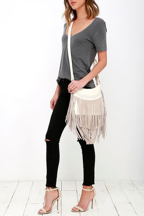 Texas Time Zone Cream Suede Fringe Purse at Lulus.com!